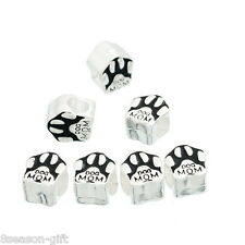 "10PCs Silver Plated European Charm Bead Fit Bracelet Enamel Black ""DOG MOM"" Paw"