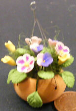 1:12 Mixed Flowers In A Hanging Basket Dolls House Miniature Garden Accessory 31