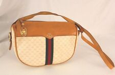Authentic Vintage Gucci Monogram Canvas Leather Shoulder Bag Purse Handbag Italy