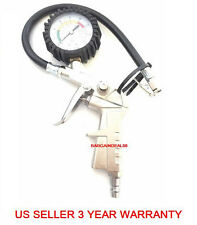 220psi T44 Tire Inflator Gauge Lock On  Air Pressure Pistol Chuck Flexible Hose