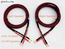 S02 (2.5m 8ft)--Pair HIFI Audiophile Audio OFC Speaker Cable 4x13awg Banana Plug