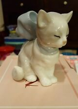 KITTY PRESENT - CAT WEARING BOW PORCELAIN FIGURINE NAO BY LLADRO  #1348