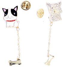 Super cute enamel dog bulldog with hanging bone brooch / pin