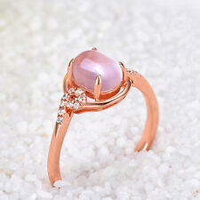 Womens Engagement Jewelry Rose Gold Plated Wedding Pink Green Opal Ring Fashion