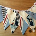 NAUTICAL BUNTING DOUBLE SIDED Boys Nursery Seaside Beach Hut Red White Blue