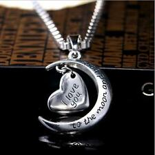 I LOVE YOU TO THE MOON AND BACK SILVER MOON PENDANT NECKLACE GIFT SG FAMILY