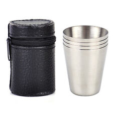 4xPortable Camping Travel Stainless Steel Shot Glass Set+ PU Leather Case Cover