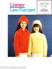 Lister Lee Target Girls Cardigans & Hat in 6 Sizes Mohair to Knit 24-34 inch Vtg