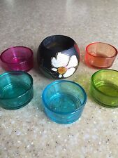 Used candle holders glass & wooden tropicana design candle holder