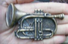 """Vtg TRUMPET Belt Buckle 4"""" HORN Instyle 1980 Pewter 3D Bugle JAZZ BAND RARE VG++"""