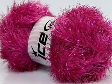 Large 100 gram skein Fuchsia Pink Eyelash Dazzle 42263 Ice Metallic Eyelash Yarn