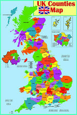 GLOSS LAMINATED UK COUNTIES MAP EDUCATIONAL POSTER WALL CHART - A2 size