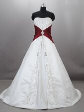White&Red Ball Gowns Wedding Dresses 2015 Formal Bridal Gowns Plus Size 2-38