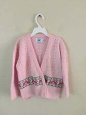 Girls Hartstrings Pink Eyelet Cardigan Sweater Sz 6X