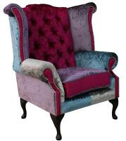 Chesterfield Queen Anne High Back Wing Chair Shimmer Patchwork Velvet SS