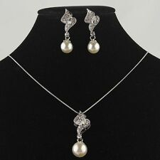 14k Gold Filled Austrian Crystal White Pearl Necklace and Earrings
