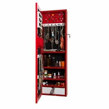 Jewelry armoire wall cabinet with mirror and lock - Wall-Mounted Armoire (red)