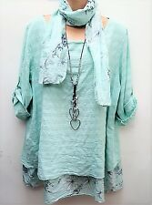 New Italian Lagenlook Mint Loose floral Cotton scarf Tunic Top uk 14 16 18 20