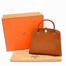Authentic Hermes Daruvi Box Carf Leather Hand Bag Tote Brown Gold E 2001