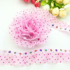 New 5 yards 2-Layer 35mm Pink Organza Lace Gathered Pleated Sequined Trim