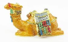 Camel  Jewelled Enamelled Trinket Box or Figurine Lying with decorative saddle