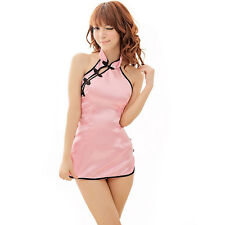 Women Sexy Lingerie Sweet Chinese Doll Cheongsam Mini Dress Sleepwear Babydoll