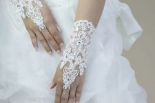 Ladies white lace diamante fingerless hand short wrist bridal wedding gloves WG2