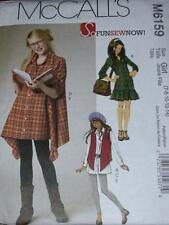 McCALL'S #M6159 - GIRLS OVERSIZED SHIRT - LEGGINGS - DRESS & VEST PATTERN 7-14uc