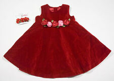 THE CHILDRENS PLACE GIRLS SIZE 24M DRESS RED VELVET ROSES FLORAL & HAIR CLIP TCP