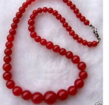 AAA Women's Jewelry 6-14 MM Hot Red Jade Gems Beaded Necklace 17.5''