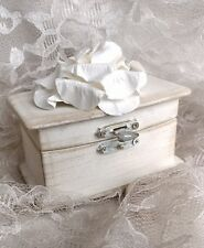 Soft Ivory Shabby Chic Wedding Ring Bearer Pillow Box Paper Rose
