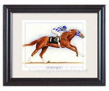 SECRETARIAT thoroughbred horse racing FRAMED ART wow - gorgeous SIGNED painting
