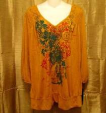 New Pretty Style & Co 3/4 Sleeve Floral Studded Gold Tunic Shirt Top 0X XL $39