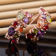 Colorful gems metal earrings hypoallergenic earrings in European  popular
