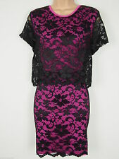 Love Label Pink & Black Lace 2 in 1 Bodycon Dress Size 10 BNWT B2