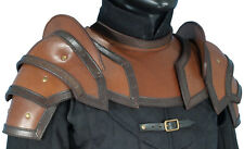 Brown Leather Shoulder Pauldrons with NeckGuard, Armour, Medieval, LARP, SCA
