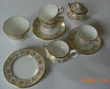Wedgewood Bone China Gold Damask Tea Cup Saucer Cake Plate Sugar Bowl Milk Jug