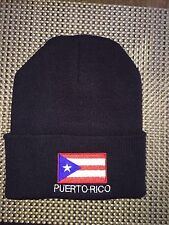 PUERTO RICO BLACK FLAG EMBROIDERY EMBROIDED CAP HAT BEANIE Black