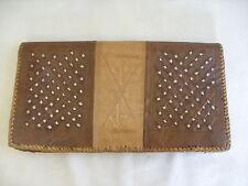 Ladies Clutch - Handmade, tan/brown leather, very unusual, hippie, tribal - 3113