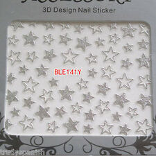 Metallic SILVER Shooting Stars Nail Art Stickers Decals Transfers NEW 141S
