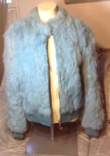 VTG BABY PHAT WOMEN'S GENUINE LEATHER / RABBIT FUR  ZIPPER BLUE JACKET SZ LARGE
