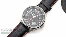 Sturmanskie Mens Watch Arctic 51524/3331817 Black Dial Leather Strap Russian