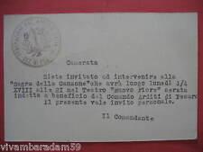 ARDITI PESARO 1940 INVITO SAGRA DELLA CANZONE TEATRO NUOVO FIORE ORIGINALE