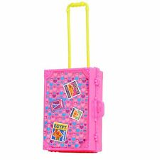 NEW Plastic Travel Suitcase Luggage with Handle For Barbie Doll Decor Gift-Pink