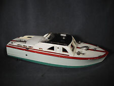 LARGE VINTAGE ITO JAPAN WOODEN CABIN CRUISER TOY BOAT BATTERY OPERATED 2 PROPS