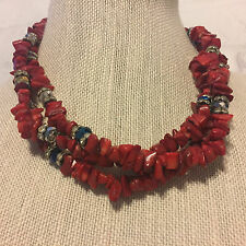 Red Stone Rhinestone Blue Silver Facet Beads Multi Strand Necklace