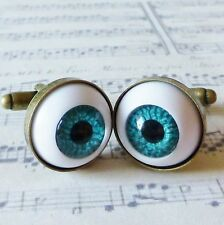 qUiRkY FuN HoRRoR GoTh WHITE BLUE EYE BALL NoVeLtY MENS BRONZE CUFFLINKS 18mm