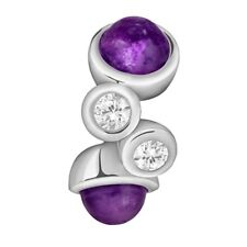 Lovelinks Bead Sterling Silver, Cabochon Amethyst & Clear CZ Charm TT439AMCZ