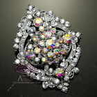 RHINESTONE CRYSTAL WEDDING OVAL CAKE HAIR DRESS CAKE SILVER BROOCH PIN