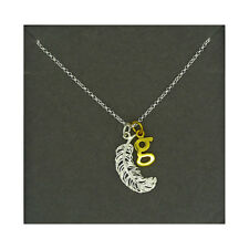 Lily Charmed NEW! Sterling Silver Large Feather & Gold Plated Initial G Necklace